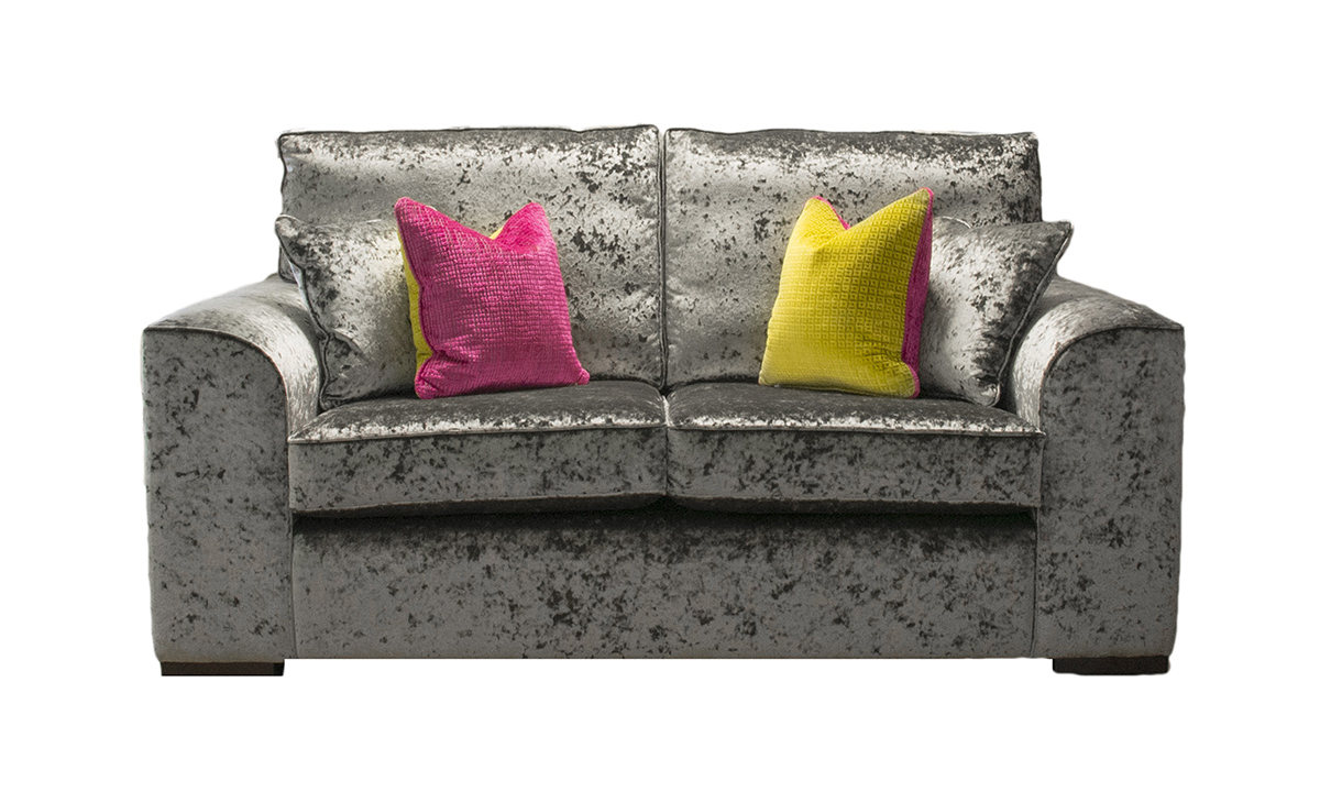 Leon Small Sofa in Bling Pewter, Gold Collection Fabric