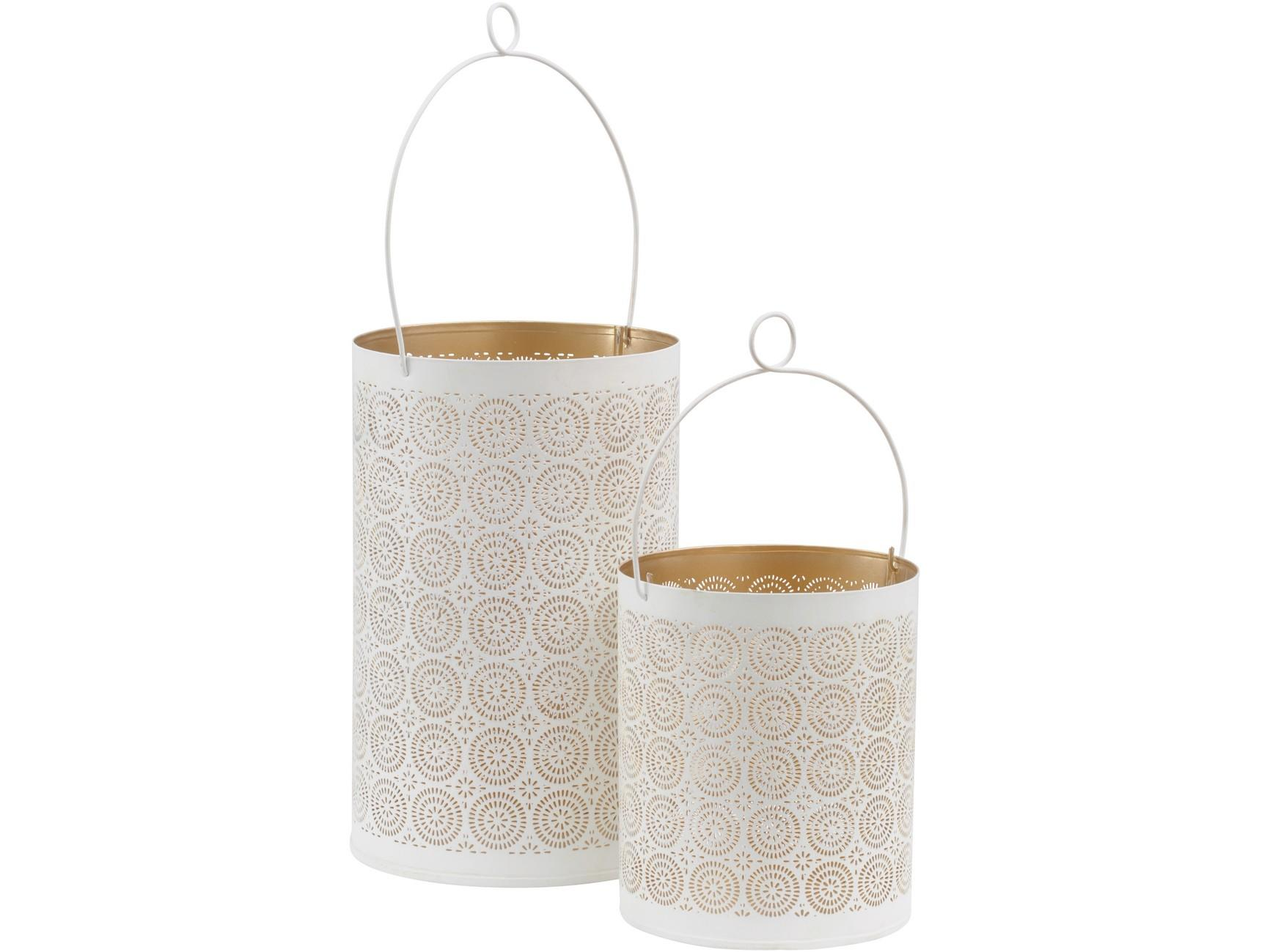 L074 700377 White And Gold Drum Set of 2 Hurricane Tealight Holders LIBRA INTERIORS €45.00