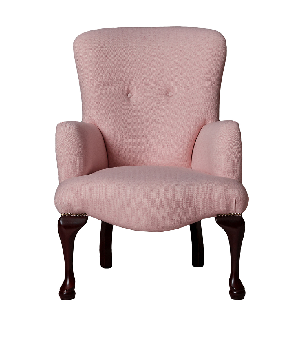 Aisling Chair in Foxford White:Camasole Herringbone in Platinum Fabric Collection