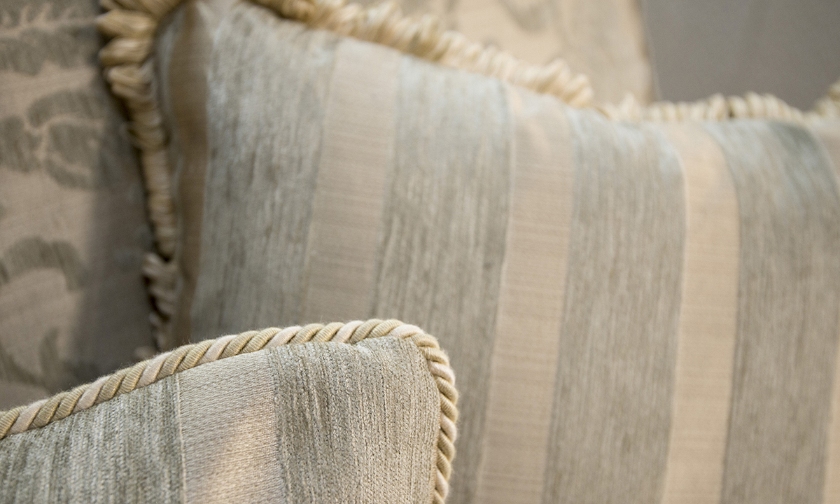 Alex Large Sofa Cushion Detail in Burton Pattern Champagne silver Collection of Fabrics