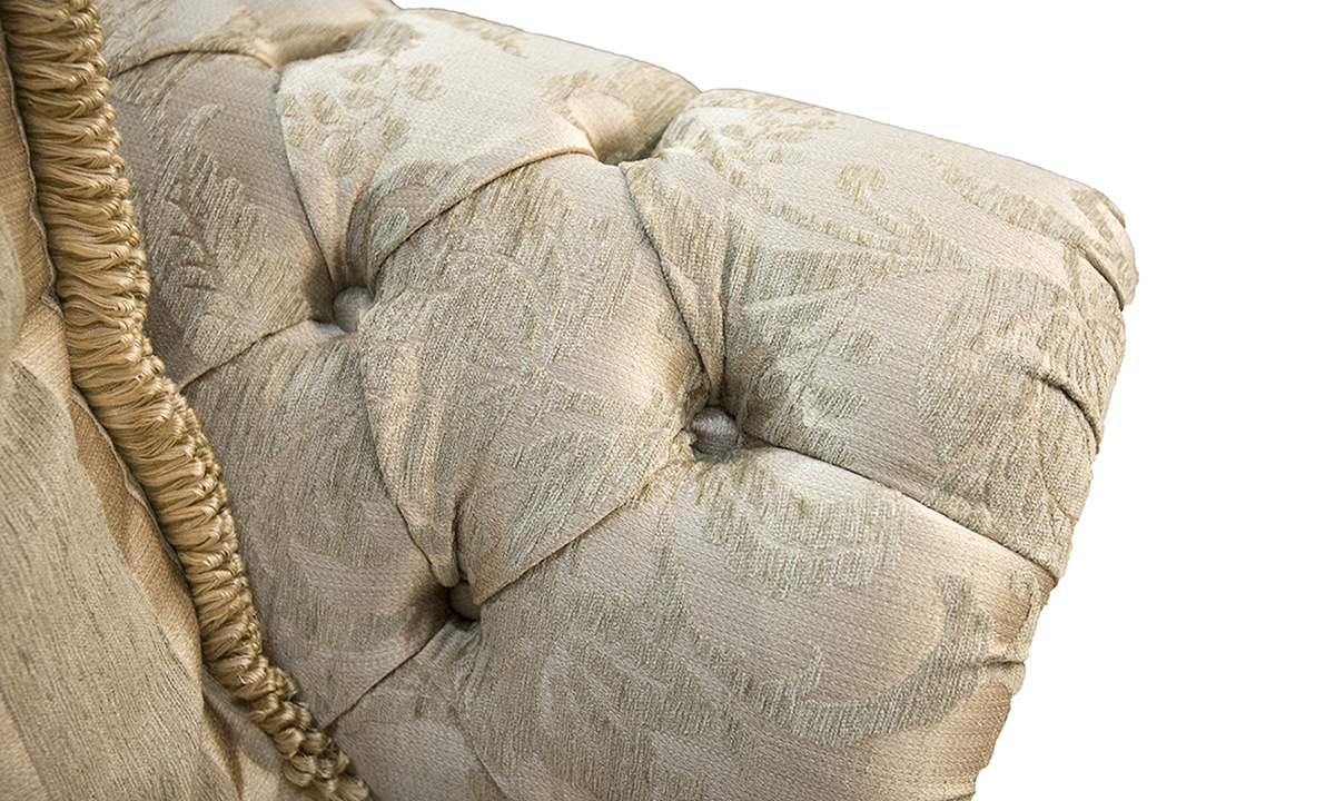 Alex Large Sofa Cushion deep button detail  in Burton Pattern Champagne silver Collection of Fabrics