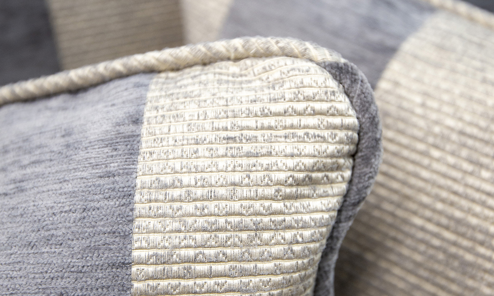 Cushion Detail in Lyra Stripe Charcoal, Gold Collection of Fabrics