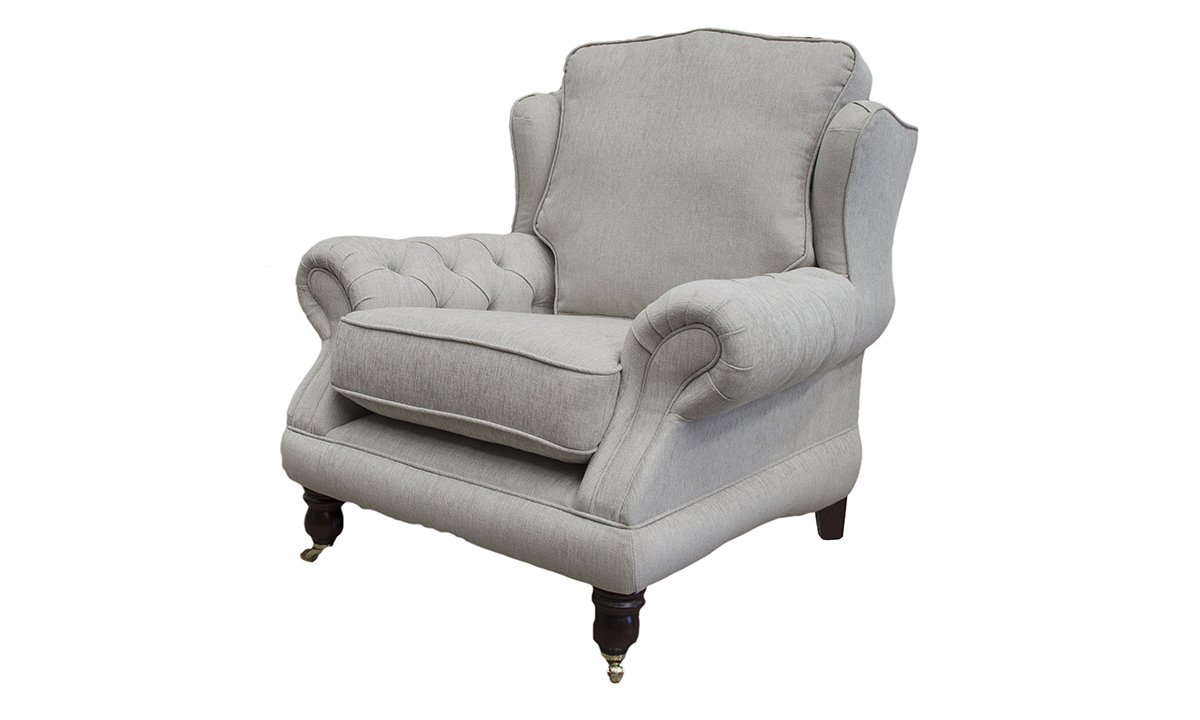 Alexandra Chair with Deep Button Arms in Balamir Plain Dove, Silver Collection Fabric