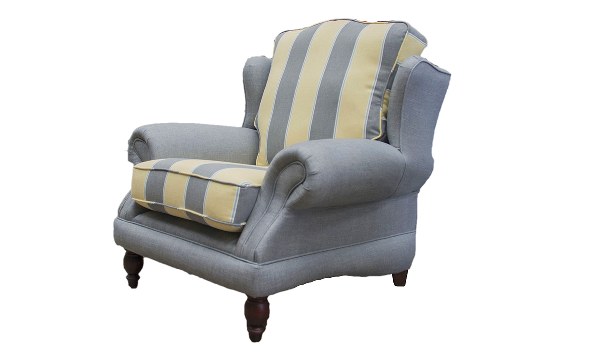Alexandra Chair in Plain Husk, Seats in Picasso Stripe Primrose