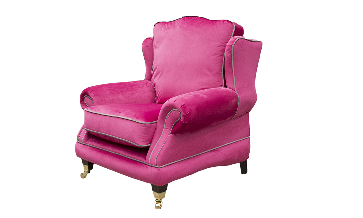 Alexandra Chair in Luxor Cerise, Silver Collection Fabric