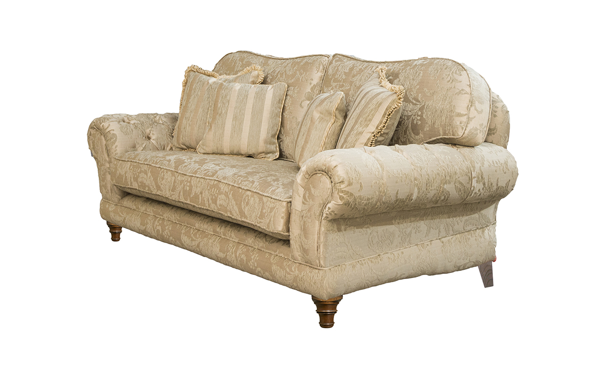 Alex Large Sofa  with a bench seat in Burton Pattern Champagne Silver Collection of Fabrics