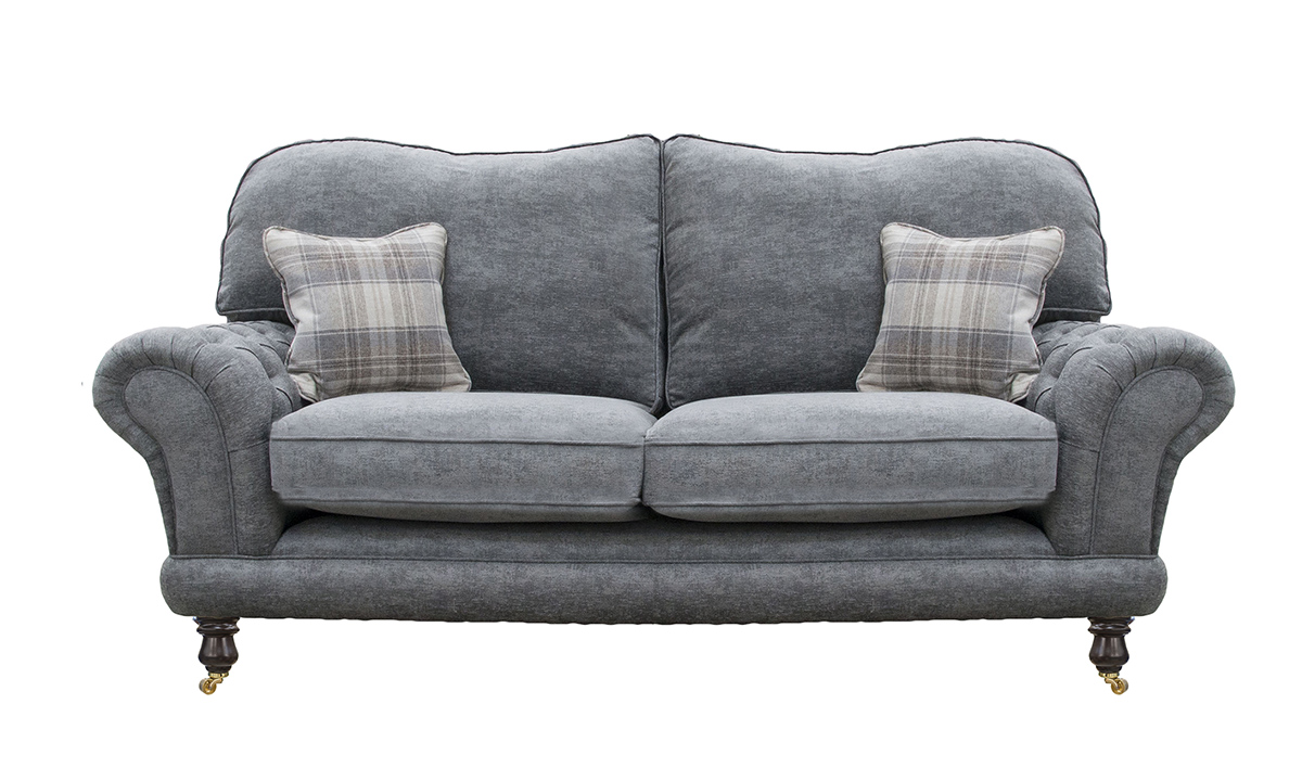 Alexandra Large Sofa with Deep Button Arms in Dagano Noir, Bronze Collection Fabric