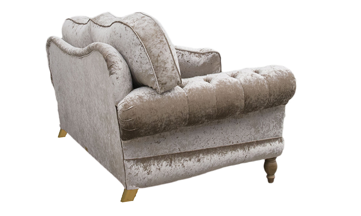 Alexandra Small Sofa with Deep Button Arms in Bling, Silver Collection Fabric