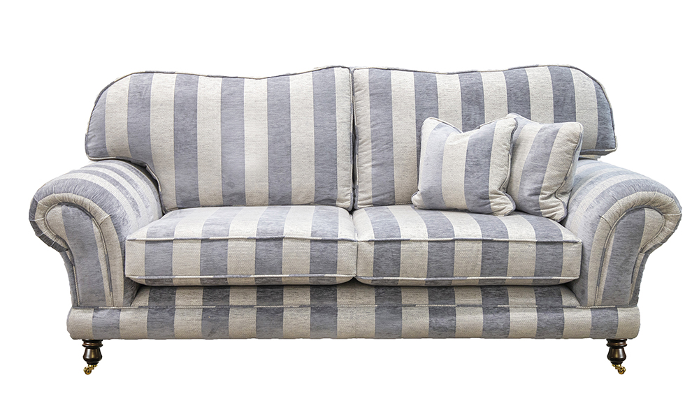 Alexandra 3 Seater Sofa in Lyra Stripe Charcoal, Gold Collection  Fabric