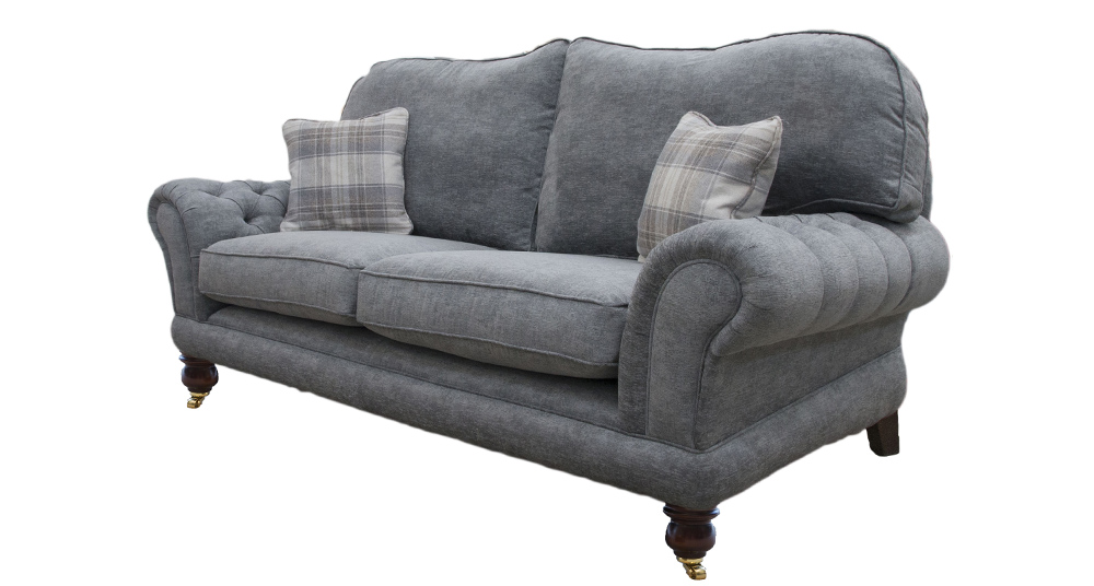 Alexandra Large Sofa with Deep Button Arm in Dagano Plain Noir Bronze Collection Fabric