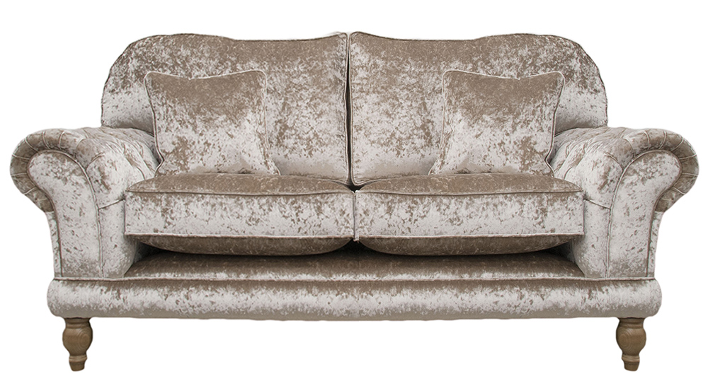 Alexandra Small Sofa  with Deep Button Arms  in Bling Pewter Gold Collection