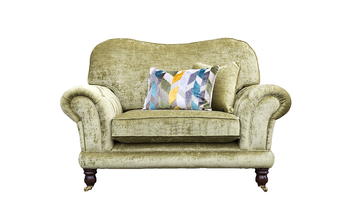 Alexandra Love Seat With Deep Button Arms, Mancini Citrus, Gold Collection Fabric