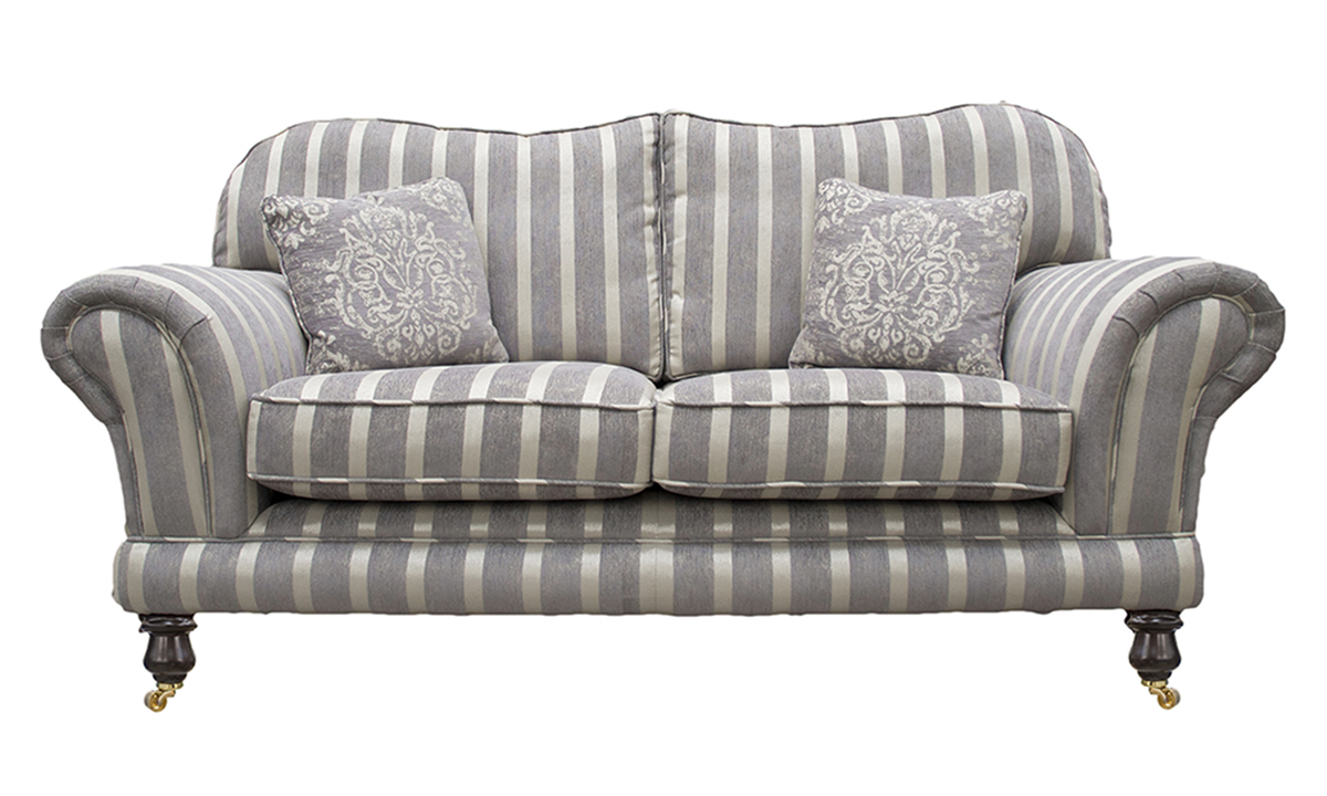 Alexandra Small Sofa in Reflex Stripe Ocean, Silver Collection Fabric