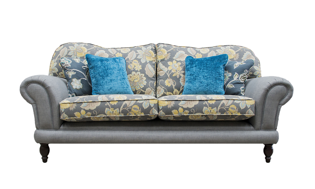 Alexandra Large Sofa in  Warwick Plain Husk Steal , Seat Cushions in Montemarte Pattern Primrose