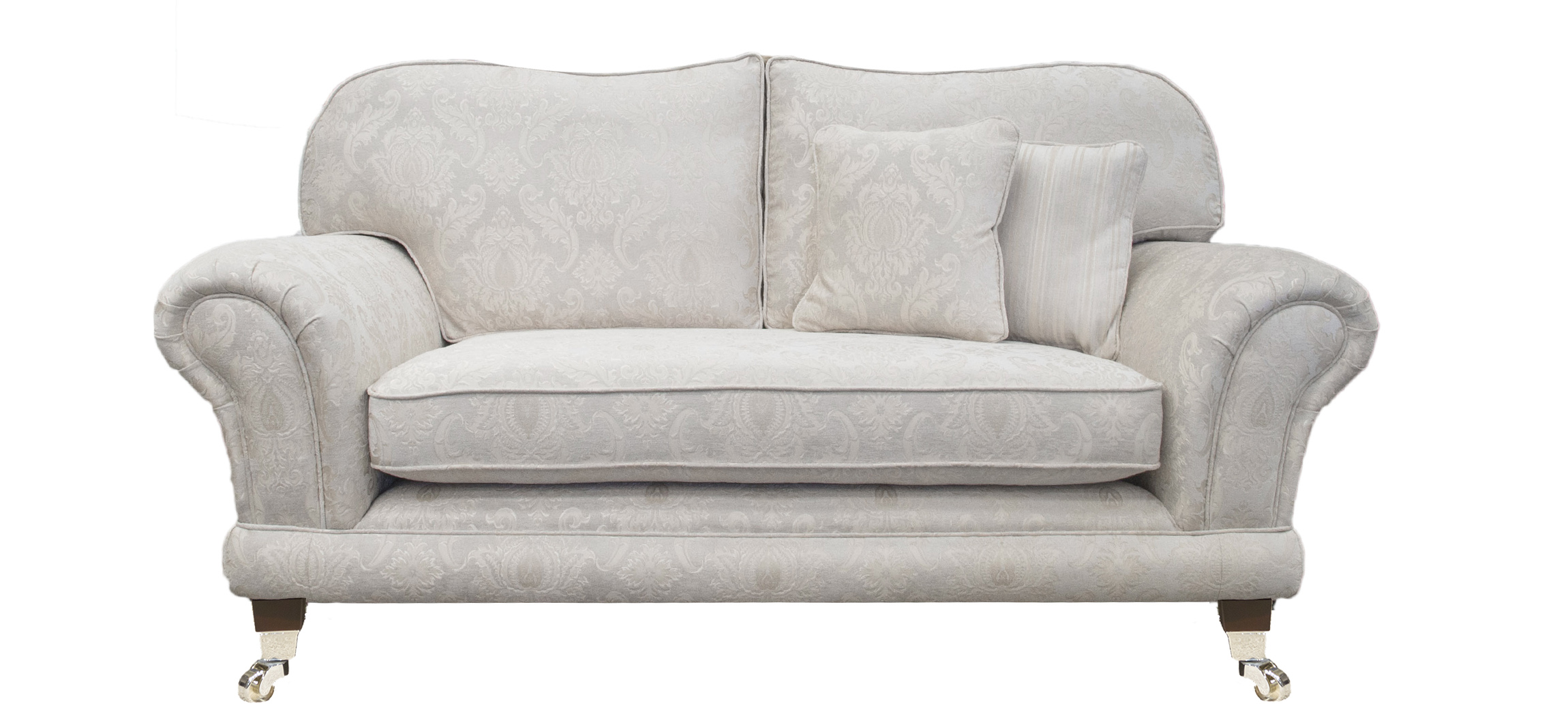 Alexandra Small Sofa in Tolstoy Pattern Snow Platinum Collection Fabric