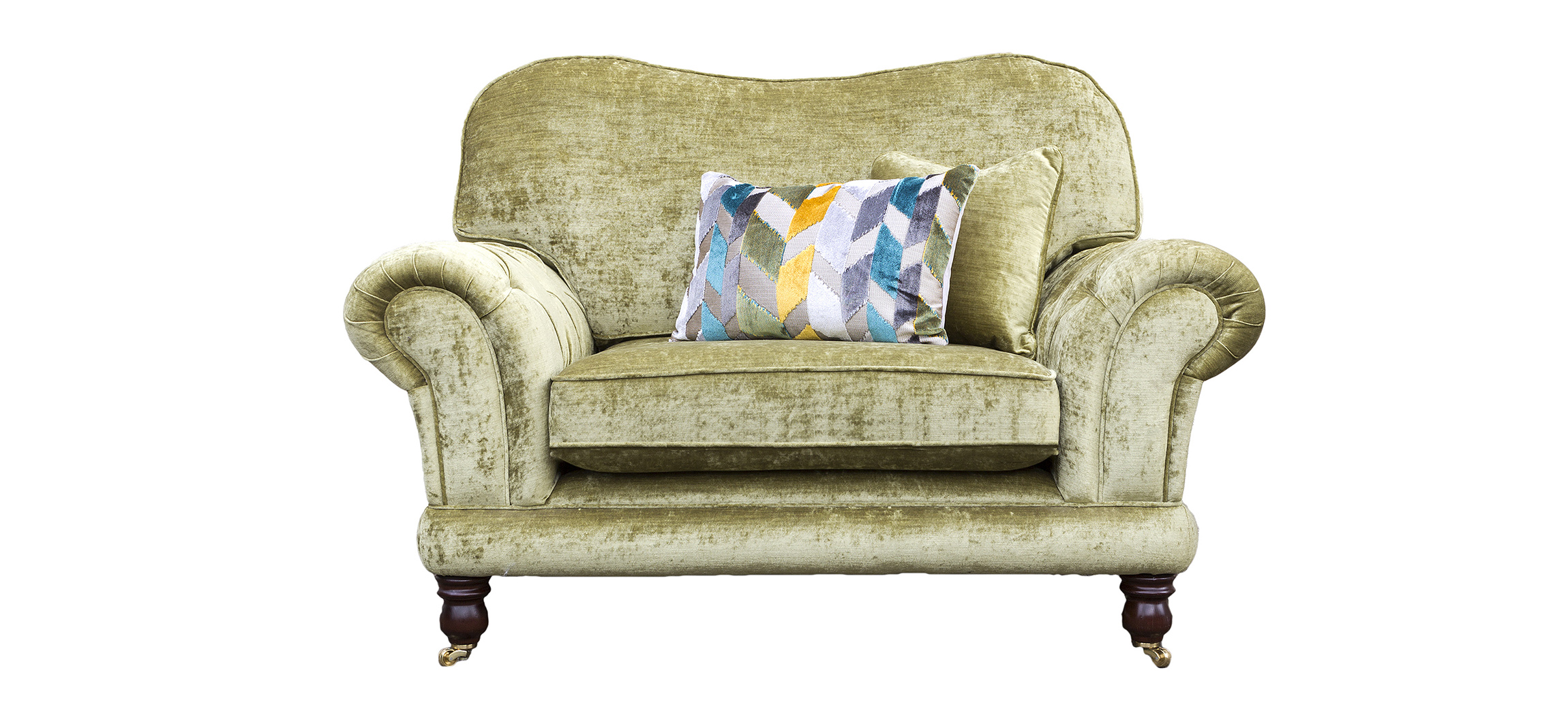 Alexandra Love Seat Deep Buttoned in Mancini Citrus  Gold Collection