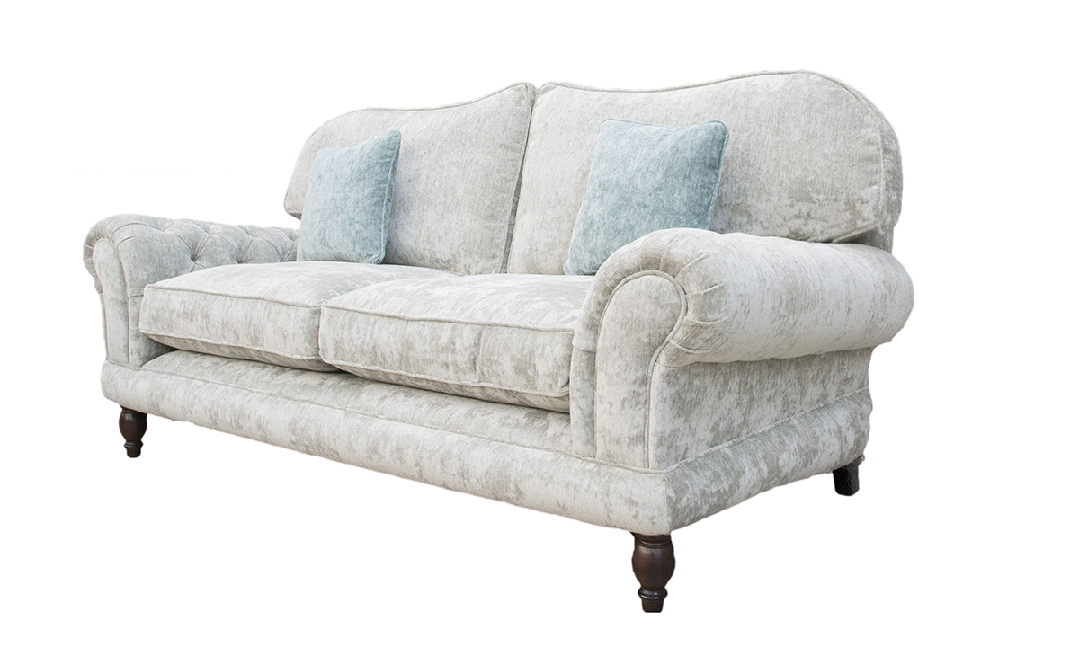 Alexandra Large Sofa with Deep Button Arms in Opulence Silver 12376