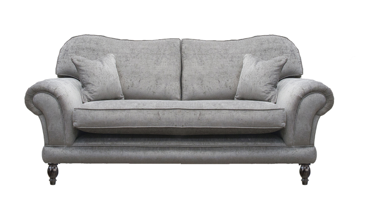 Bespoke Alexandra Large Sofa, Bench Seat, in a Silver Collection Fabric