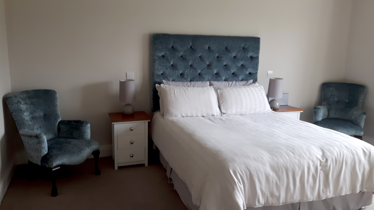 Deep Button Headboard & Aisling Chairs
