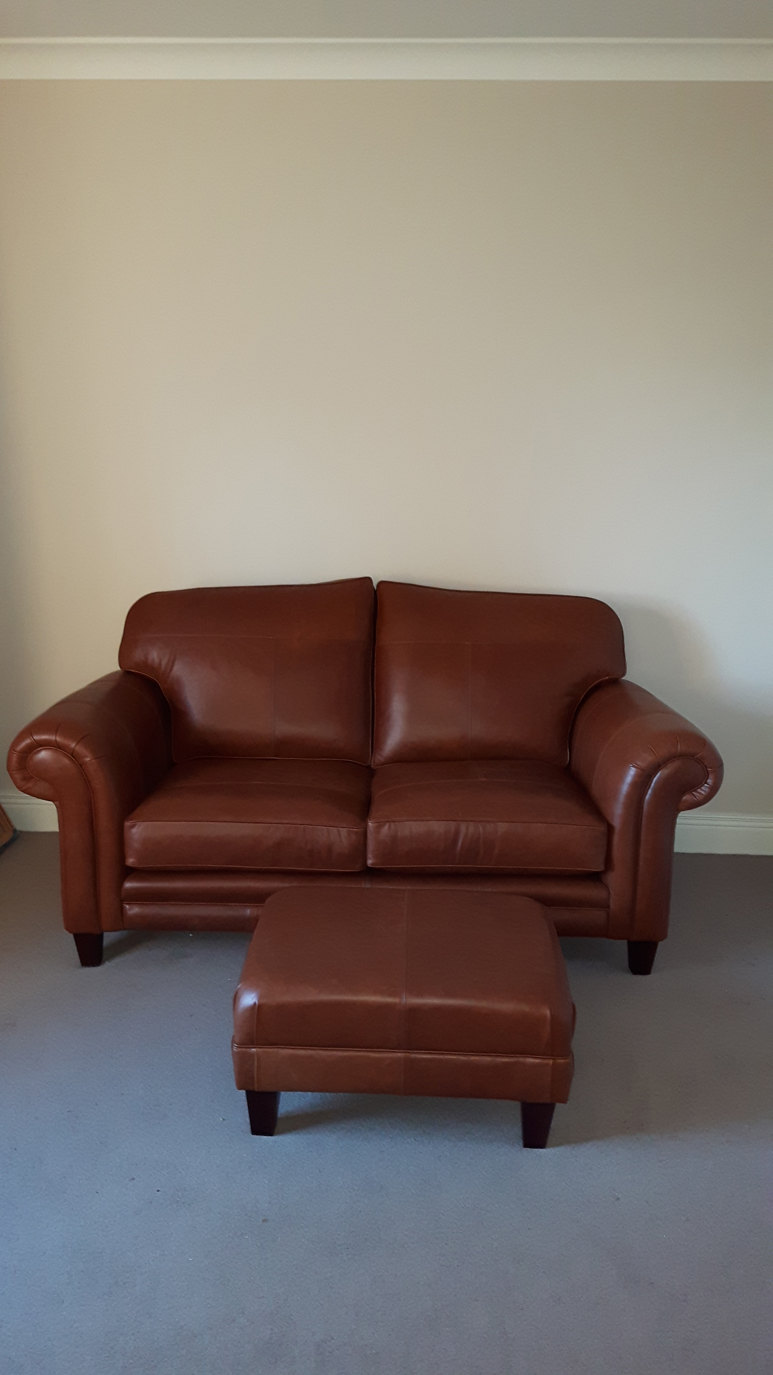 Leather Louis Small Sofa & Costa Footstool - Mustang Tan