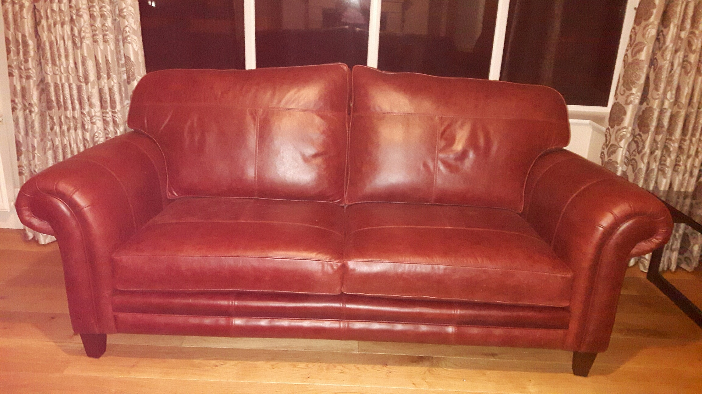 Leather Louis Large Sofa - Mustang Chestnut