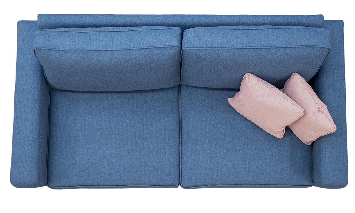 Antonio Sofa Top View with Collins Arm in Tweed Navy Silver Collection