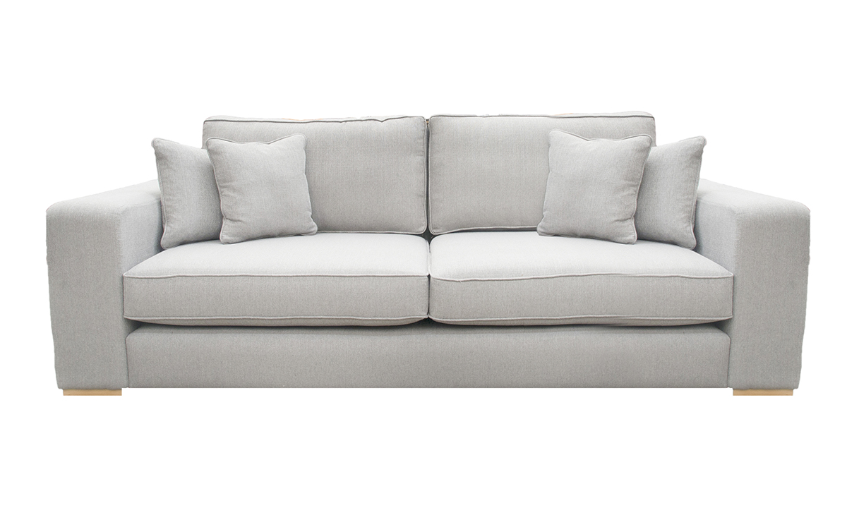 Antonio Large Sofa in Aosta Grey, Silver Collection Fabric
