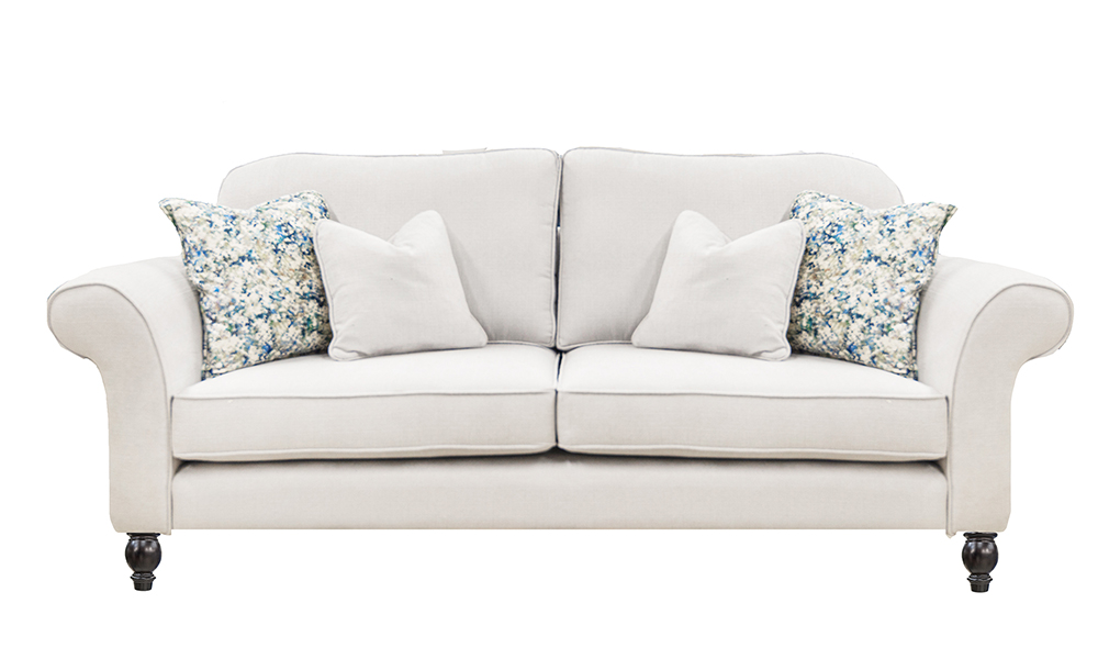 Ascot 3 Seater Sofa in JBrown Hendrix 808 Silver, Gold Collection Fabric
