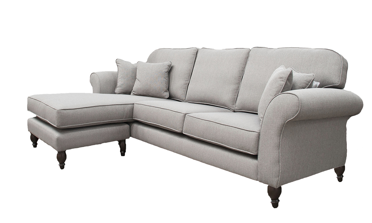 Bespoke Aslan 3 RHF seater Sofa with LHF Chaise End in Aosta Grey, Bronze Collection Fabric