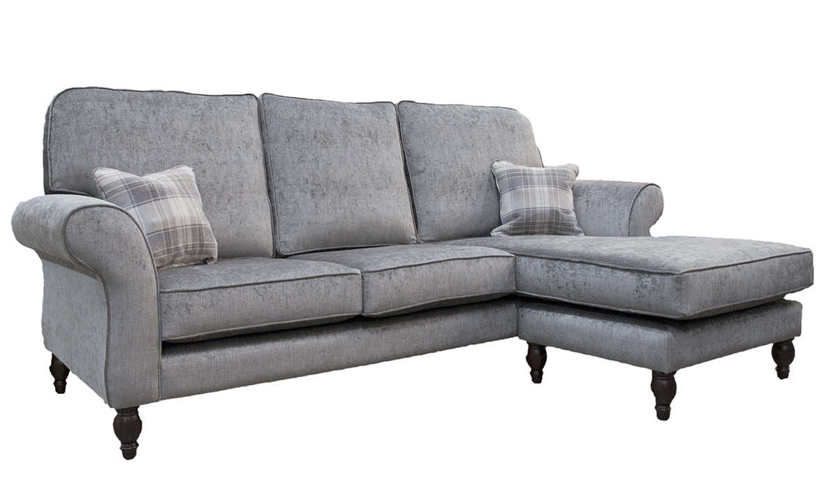 Bespoke Aslan 3 LHF seater Sofa with RHF Chaise End in Edinburgh Truffle, Silver Collection Fabric