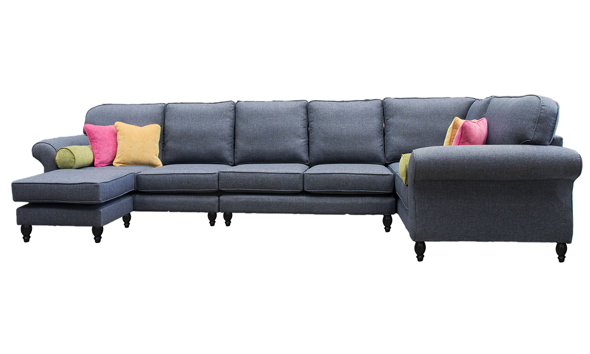 Bespoke Aslan Corner Sofa with a Chaise End in Ado Marine, Bronze Collection Fabric