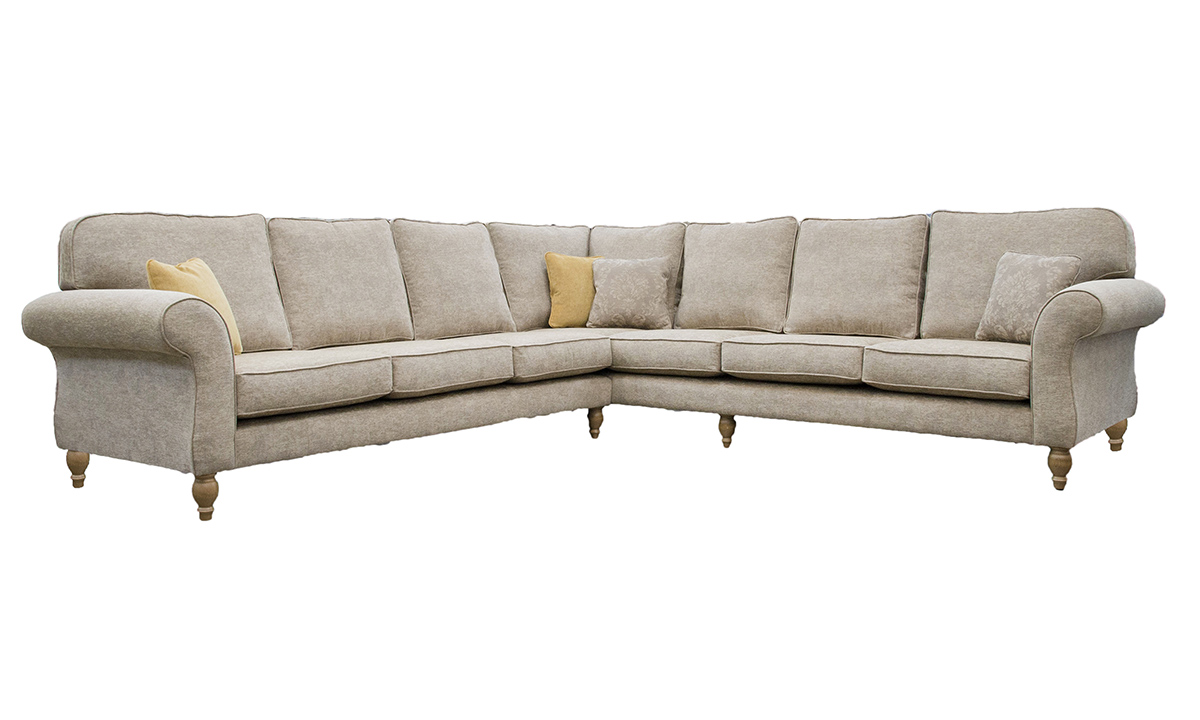 Aslan Corner Sofa Dagano Plain Linen, Bronze Collection Fabric