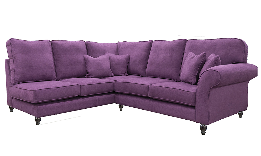 Aslan Corner Sofa in JBrown Hendrix 702 Aubergine, Silver Collection Fabric