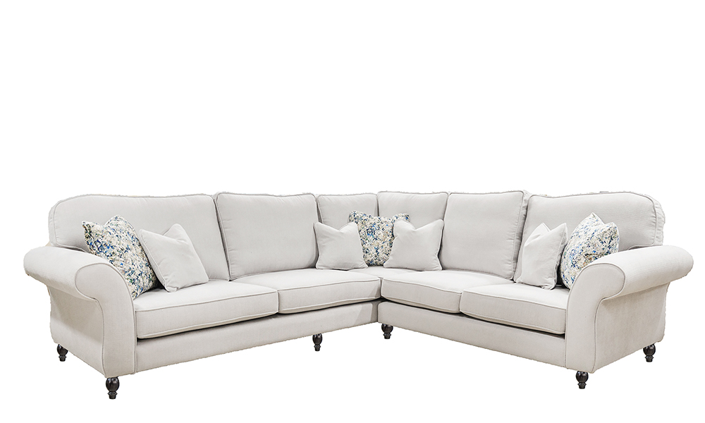 Aslan Corner Sofa in JBrown Hendrix 808 Silver, Gold Collection Fabric