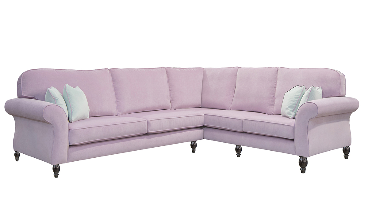Aslan Corner Sofa in Pimlico SR 16159, Silver Collection Fabric. 3 seater RHF arm + LHF corner arm & 2 seater LHF Arm