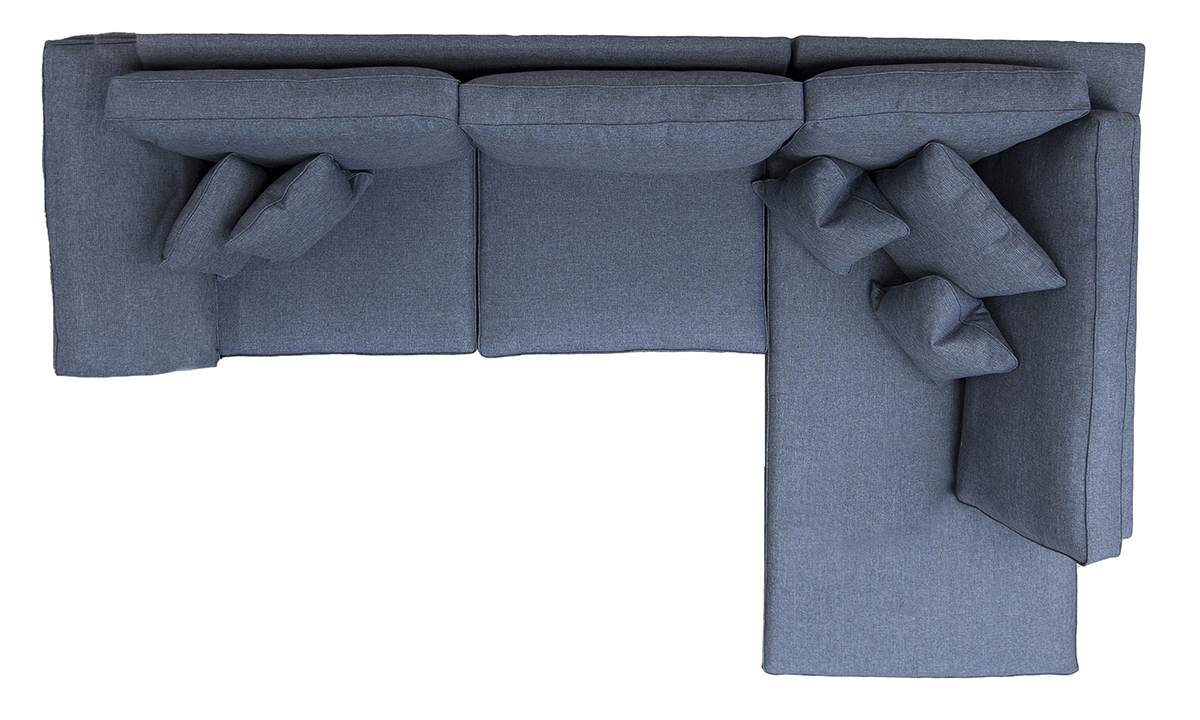 Atlas 3 Seater Chaise Sofa Top View in Ado Marine Bronze Collection Fabric