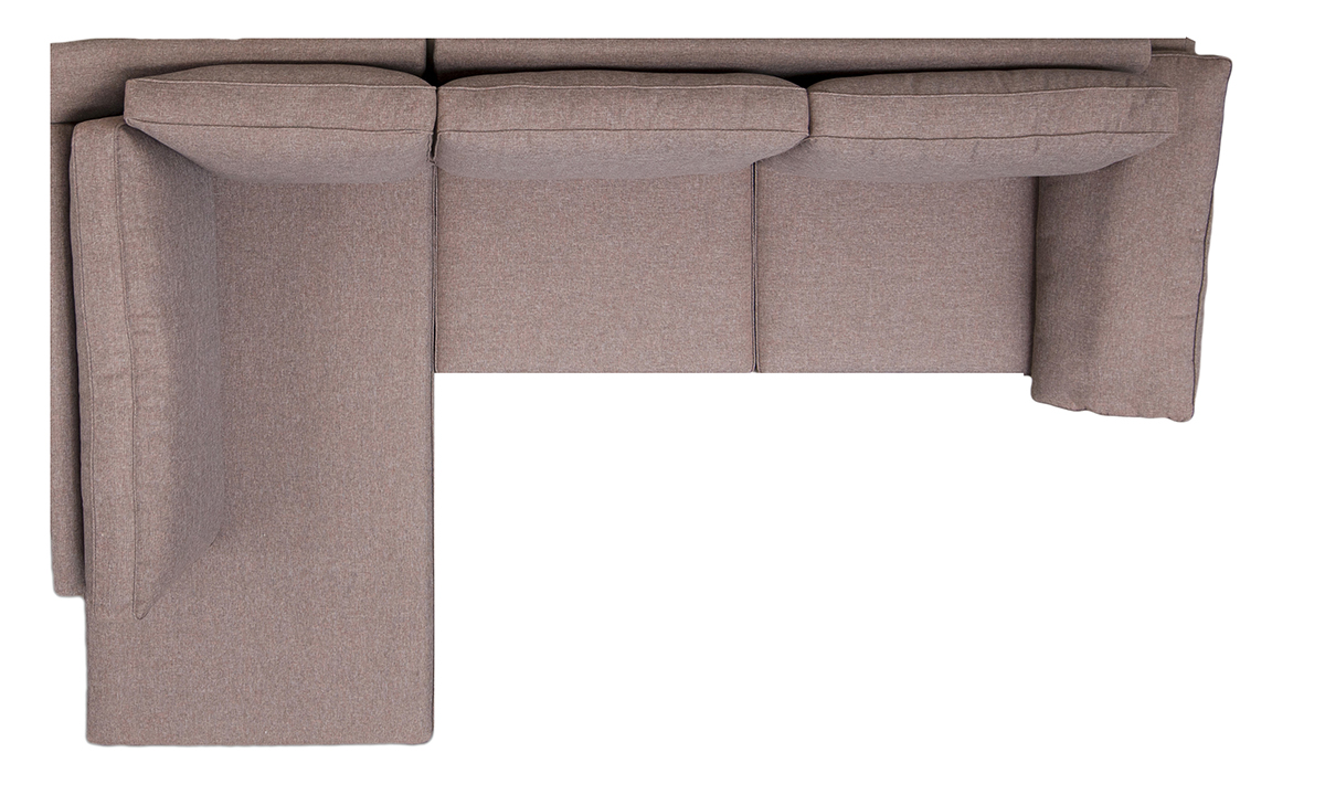 Atlas Corner LHF Chaise Sofa Top View in Ado Chestnut, bronze Collection Fabric