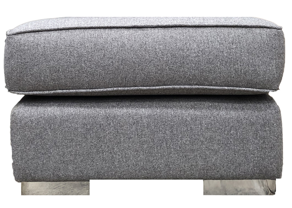 Atlas Footstool in Tweed Gallant Silver Collection Fabric