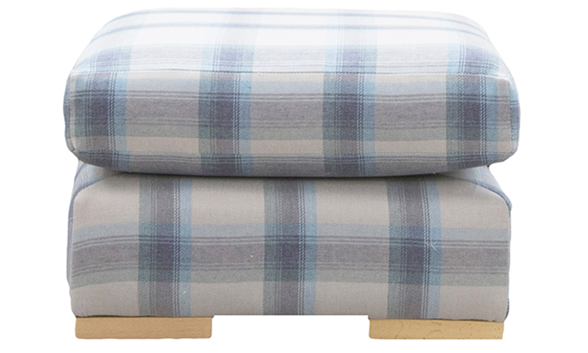 Colorado Footstool in Aviemore Plaid Wedge, Silver Collection Fabric