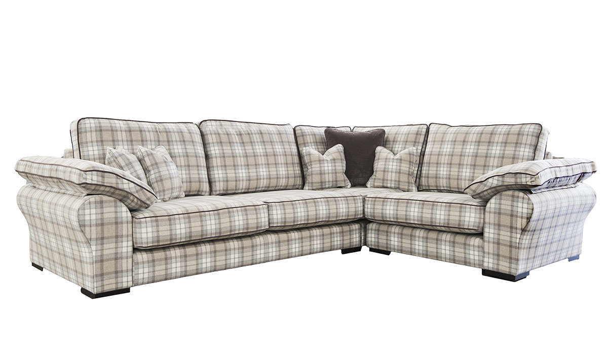 Atlas Corner Sofa in Country Plaid Earth Platinum Fabric Collection