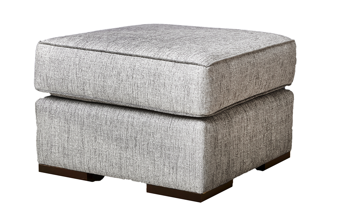 Atlas Footstool in  Spencer Steel, Silver Collection Fabric