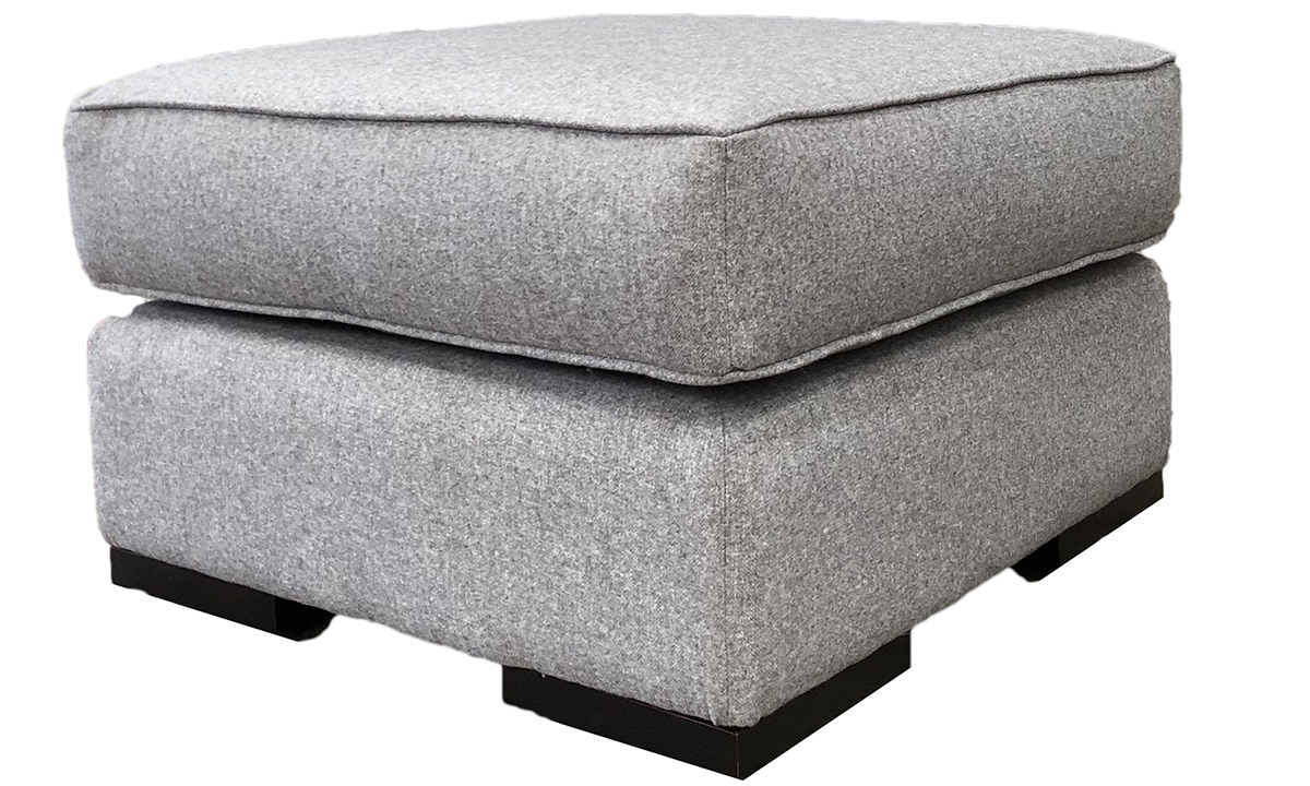 Atlas Footstool in Tweed Gallant, Silver Collection Fabric