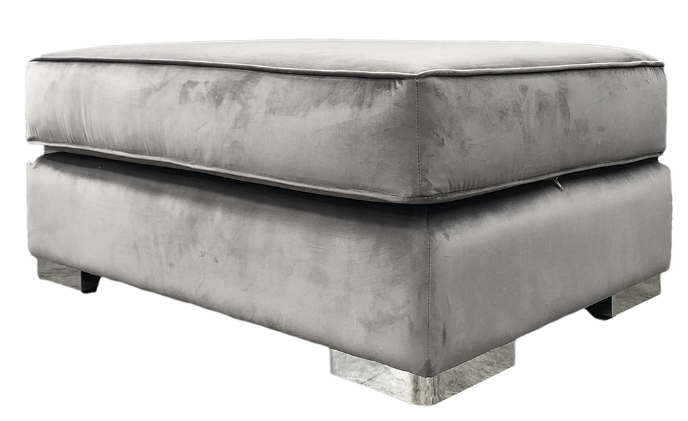 Atlas Island Footstool in Luxor Dolphin Silver Collection Fabric