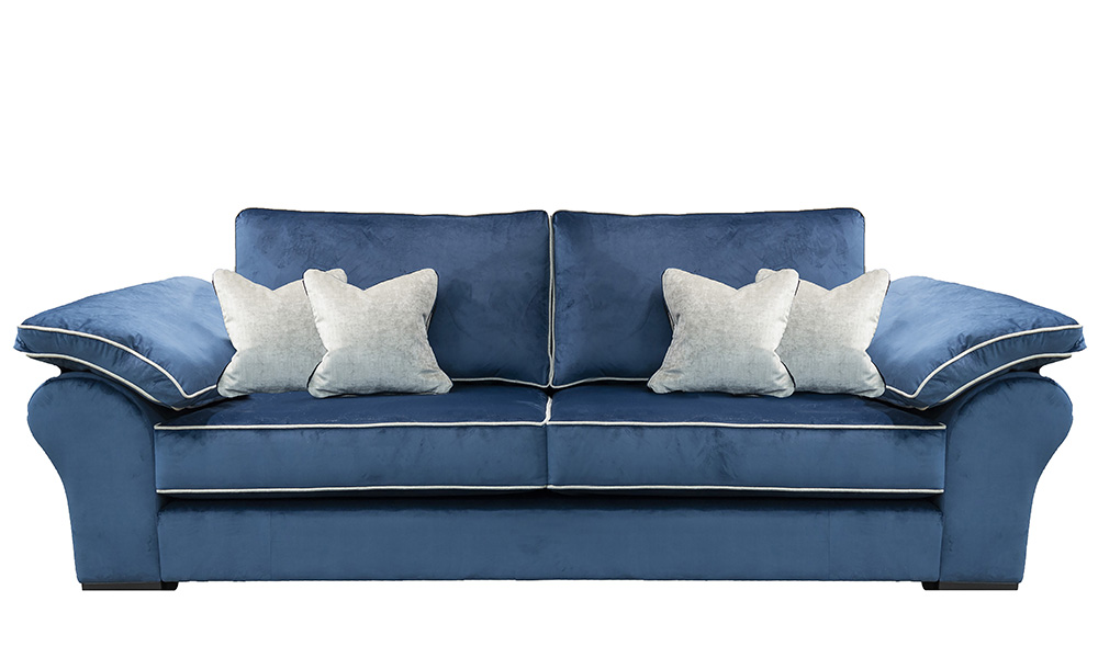 Atlas 3 Seater Sofa in Luxor Pacific, Silver Collection Fabric