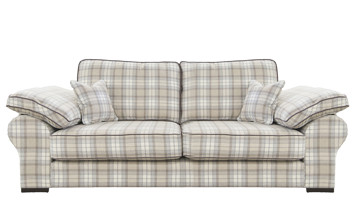 Atlas 3 Seater Sofa in Country Plaid Earth, Silver Collection Fabric