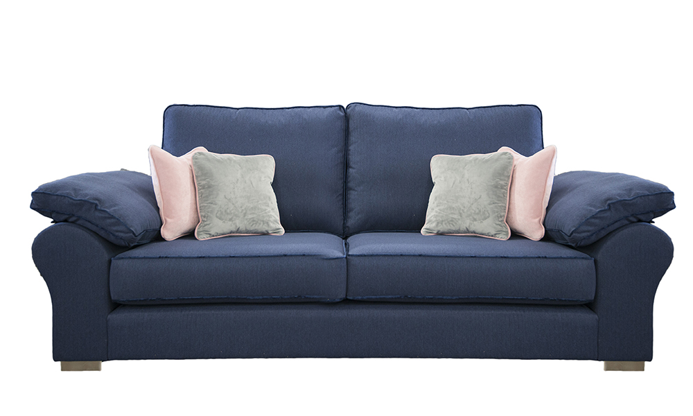 Atlas Large Sofa in J Brown McKenzie 5 Indigo, Silver Collection Fabric