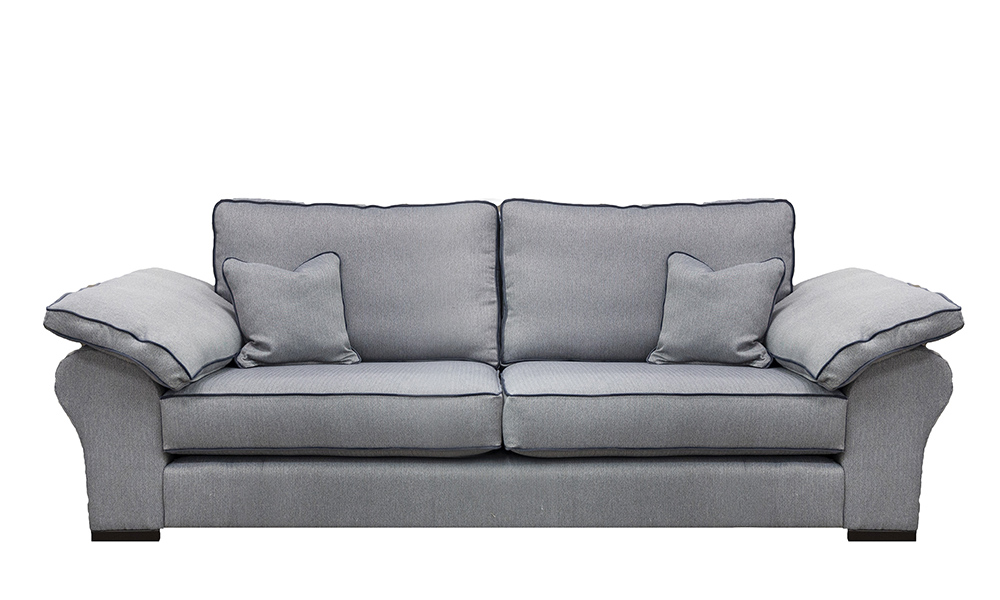 Atlas 3 Seater Sofa in Porto Charcoal, Silver Collection Fabric