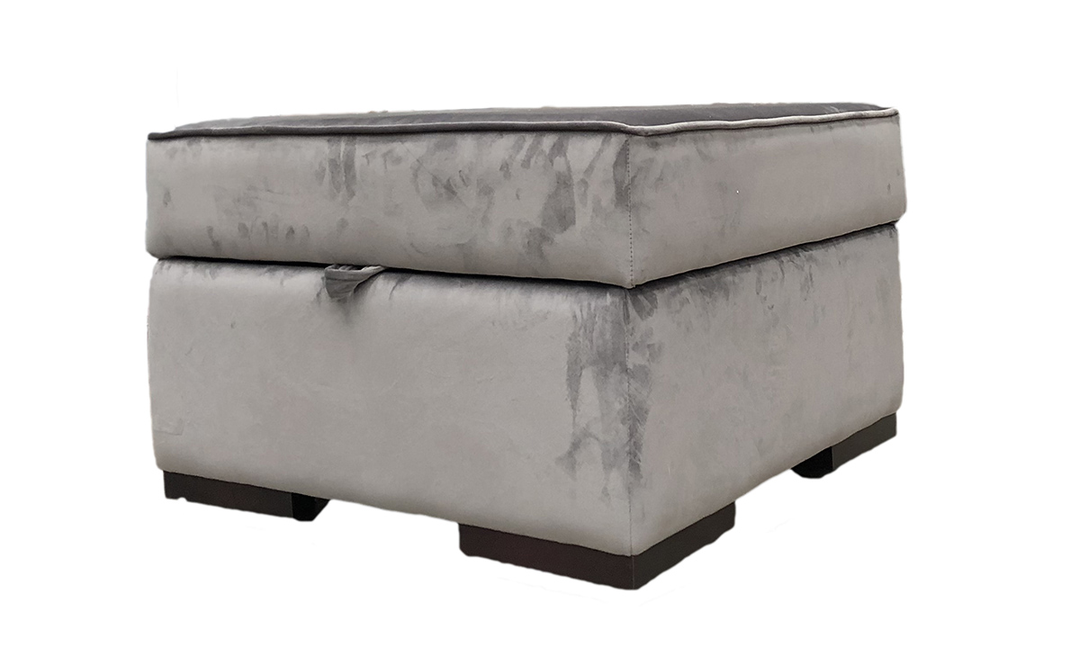 Atlas Storage Footstool in Luxor Dolphin, Silver Collection Fabric