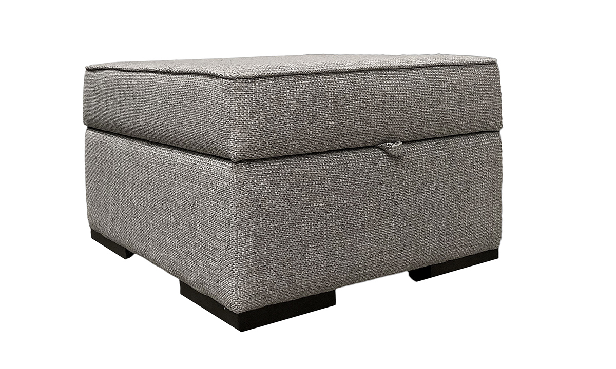 Atlas Storage Footstool in Milwaukee Grey, Bronze Collection Fabric