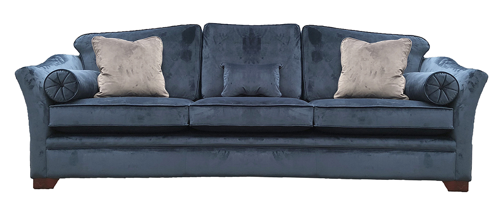 Othello Sofa (Bespoke Size - 274cm long) 3 cushions Finish - Luxor Pacific